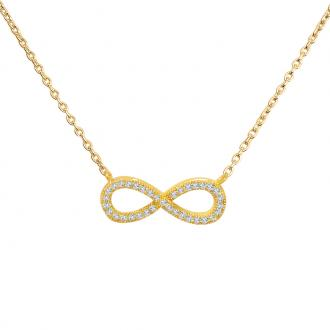 Collier femme Carador symbole infini en plaqué or et oxydes de zirconium