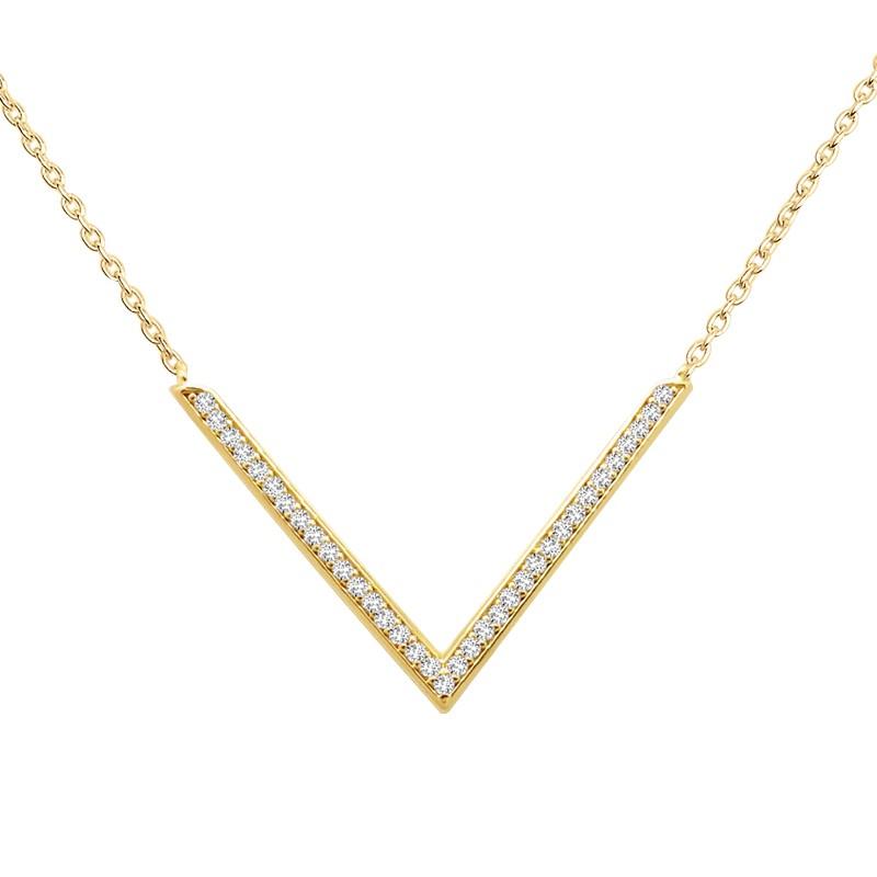 Collier femme Carador forme V empierrée d'oxydes de zirconium, plaqué or