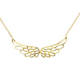 Collier femme Carador motif ailes dentelles plaqué or