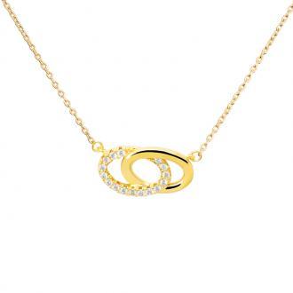 Collier femme Carador motif ovales enlacés en plaqué or et oxydes de zirconium