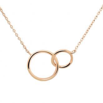Collier femme Carador anneaux enlacés plaqué or rose