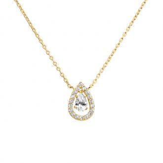 Collier femme Carador pendentif goutte plaqué or et oxydes de zirconium