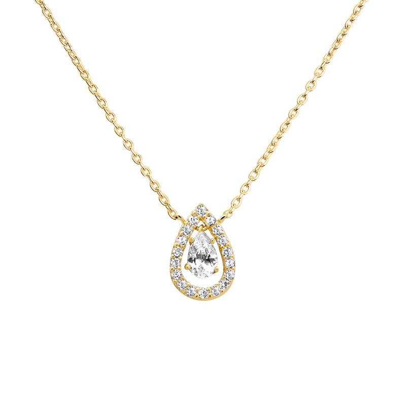 Bien-aimé Collier femme Carador pendentif goutte plaqué or et oxydes de  OT39