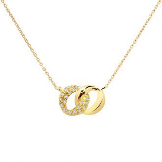Collier femme carador double anneaux ovales entremélés plaqué or et oxydes de zirconium