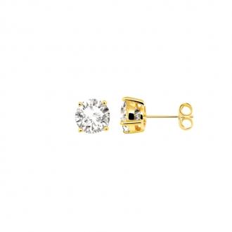 Boucles d'oreilles bouton femme Carador plaqué or et oxydes de zirconium 7 mm
