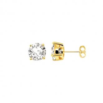 Boucles d'oreilles bouton femme Carador plaqué or et oxydes de zirconium 8 mm