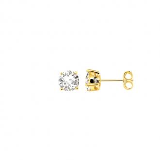Boucles d'oreilles bouton femme Carador plaqué or et oxydes de zirconium 6 mm