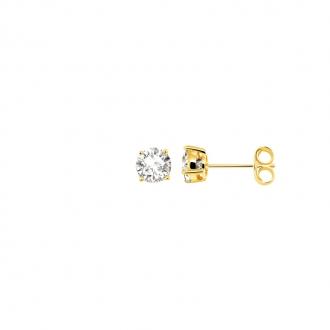 Boucles d'oreilles bouton femme Carador plaqué or et oxydes de zirconium 5 mm