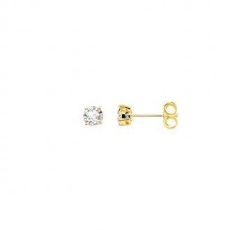 Boucles d'oreilles bouton femme Carador plaqué or et oxydes de zirconium 4 mm