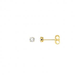 Boucles d'oreilles bouton femme Carador plaqué or et oxydes de zirconium 3 mm