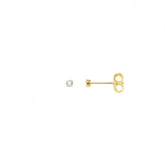 Boucles d'oreilles bouton femme Carador plaqué or et oxydes de zirconium 2 mm