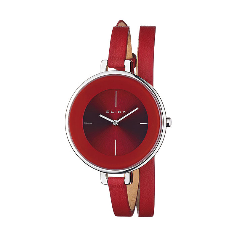 montre femme elixa finesse cuir rouge e063 l192 pour femme. Black Bedroom Furniture Sets. Home Design Ideas