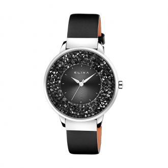 Montre Femme Elixa Finesse noire, cuir et cristaux E114-L460