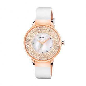 Montre femme Elixa Finesse blanche, cuir et cristaux E114-L463