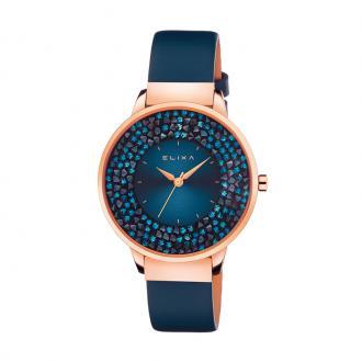 Montre femme Elixa Finesse bleue, cuir et cristaux E114-L464