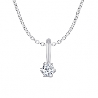 Collier femme Carador or blanc 375/000 diamant 0.06 cts