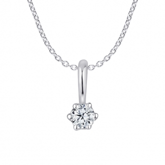 Collier femme Carador or blanc 375/000 diamant 0.1 cts
