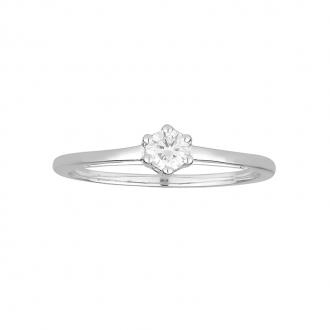 Bague solitaire Carador or blanc 375/000 et diamant 0.19 cts