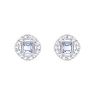 Boucles d'oreilles Swarovski Angelic Square argentées et cristal bleu 5352048