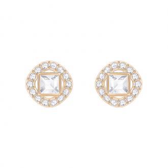 Boucles d'oreilles Swarovski Angelic Square dorées rose et cristal incolore 5352049
