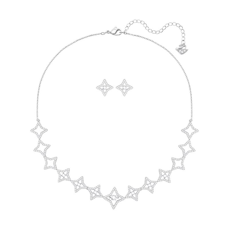 Parure collier et boucles d'oreilles Swarovski Sparkling DC Star 5364217
