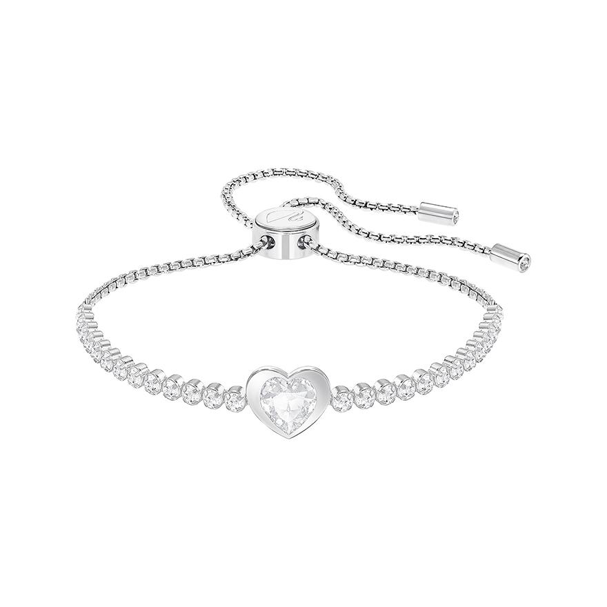 bracelet femme swarovski subtle clover heart argent 5349630 pour femme. Black Bedroom Furniture Sets. Home Design Ideas
