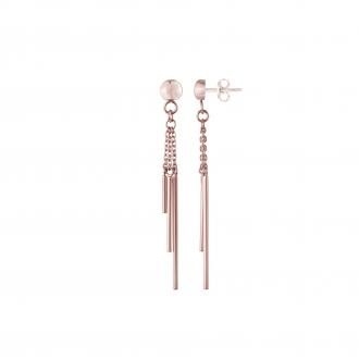 Boucles d'oreilles pendantes Amporelle acier doré rose WB590/IPGR
