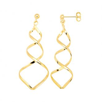 Boucles d'oreilles pendantes Carador double spirales plaqué or