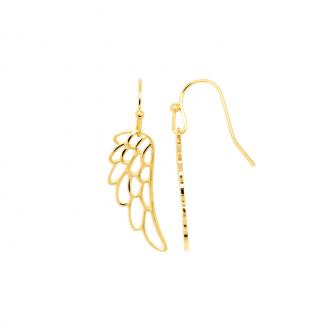 Boucles d'oreilles pendantes Carador motif aile plaqué or