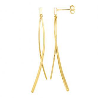 Boucles d'oreilles pendantes Carador double baguettes plaqué or