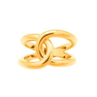 Bague femme Carador anneaux croisés plaqué or