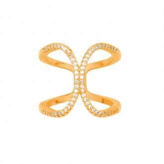 Bague femme Carador forme papillon plaqué or et oxydes de zirconium
