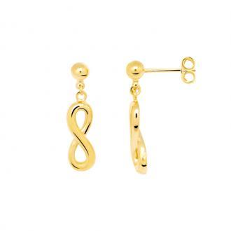 Boucles d'oreilles pendantes Carador motif infini plaqué or