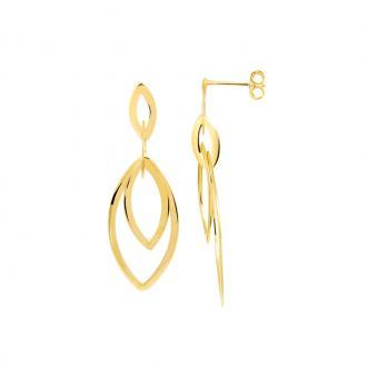 Boucles d'oreilles pendantes Carador Ellipses plaqué or