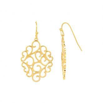 Boucles d'oreilles pendantes Carador arabesque plaqué or