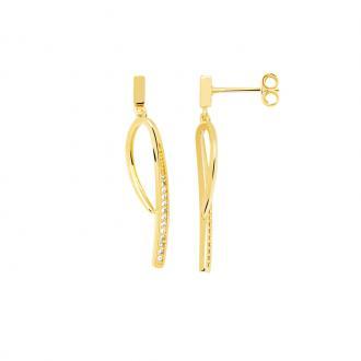 Boucles d'oreilles pendantes Carador boucle allongée plaqué or et oxydes de zirconium