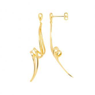 Boucles d'oreilles pendantes Carador torsade double plaqué or
