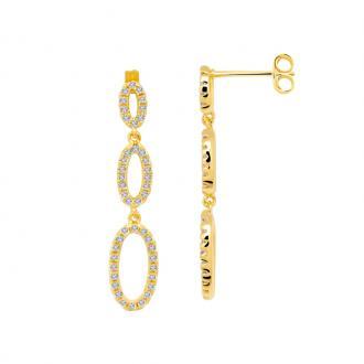 Boucles d'oreilles pendantes femme Carador ovales plaqué or et oxydes de zirconium