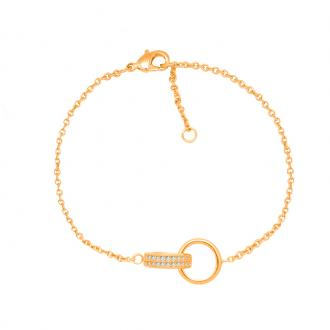 Bracelet souple Carador cercles enlacés plaqué or et oxydes de zirconium