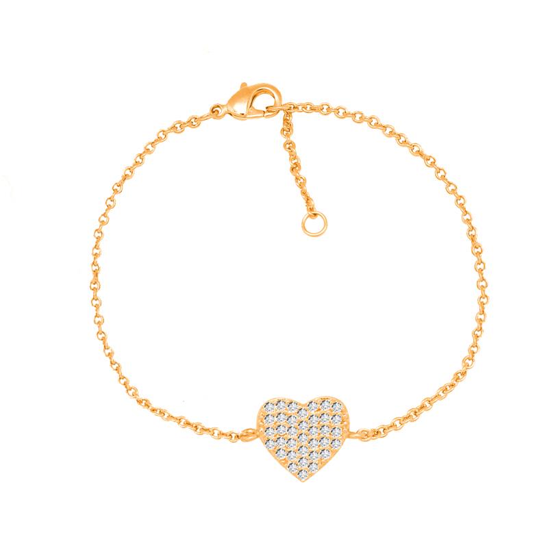 Bracelet souple Carador cœur empierré d'oxydes de zirconium en plaqué or