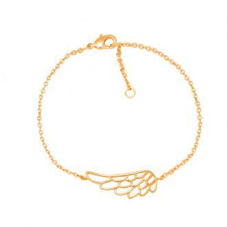 Bracelet souple Carador motif aile plaqué or