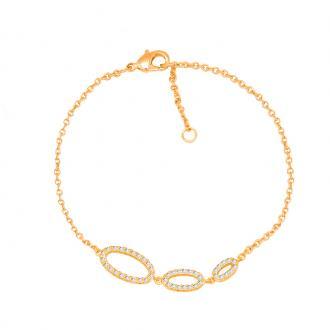 Bracelet souple Carador trio d'ovales décroissant plaqué or et oxydes de zirconium