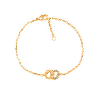 Bracelet souple Carador ovales entremélés plaqué or