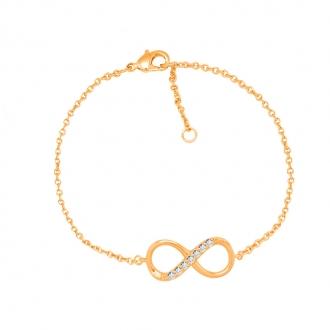 Bracelet souple Carador symbole infini plaqué or et oxydes de zirconium