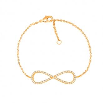 Bracelet souple Carador motif infini plaqué or et oxydes de zirconium