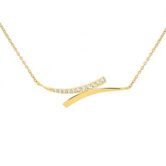 Collier Carador Or jaune 375/000e Femme - zircons blancs