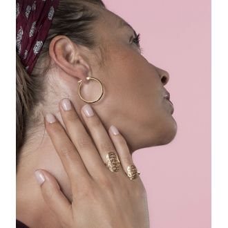 Boucles d'oreilles créoles Carador Glitter or jaune 375/000, 28 mm