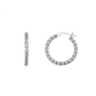 Boucles d'oreilles Carador type créoles Argent 925/000 24 mm