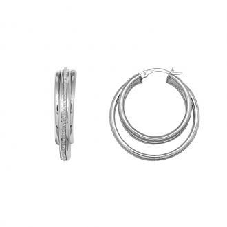 Boucles d'oreilles Cardaor créoles triples argent 925/000 BOA1348D30