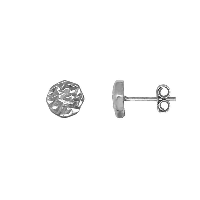 Boucles d'oreilles Carador type clou Argent 925/000 crénelée